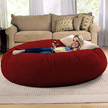 Jaxx 6 Foot Cocoon   Large Bean Bag Chair For Adults, Cinnabar