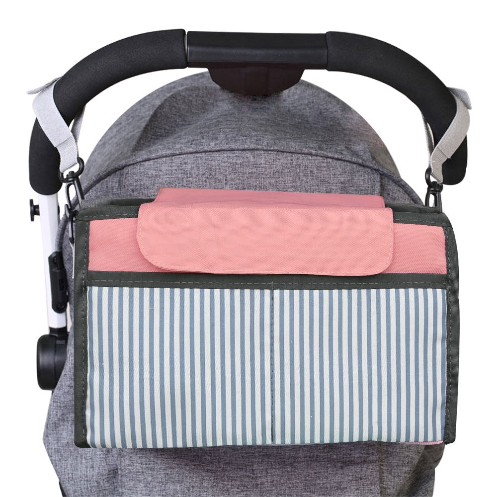 Stroller Organizer, Jelanry Deep Cup Holder Fits All Kinds of Stroller, Keep iPhones Diapers Toyes Wallets Keys Books & iPads with Large Storage Space, Hold Two Bottle Drinks (Pink)