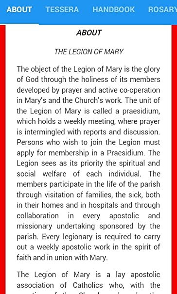Amazon com: (OLG) LEGION OF MARY TESSERA: Appstore for Android