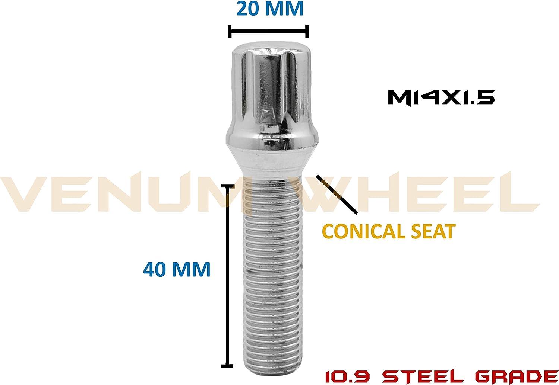 5 PCs Chrome M14x1.5 Spline Drive Conical Seat Lug Bolts 40mm With Key