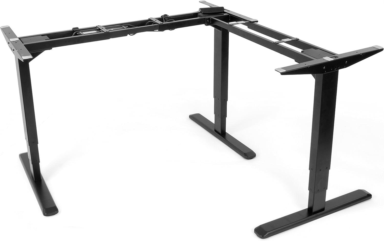 VIVO Electric Motor Sit Standing Height Adjustable Corner 3 Leg Desk Frame Frame Only Sit Stand Ergonomic L Frame DESK-V133E