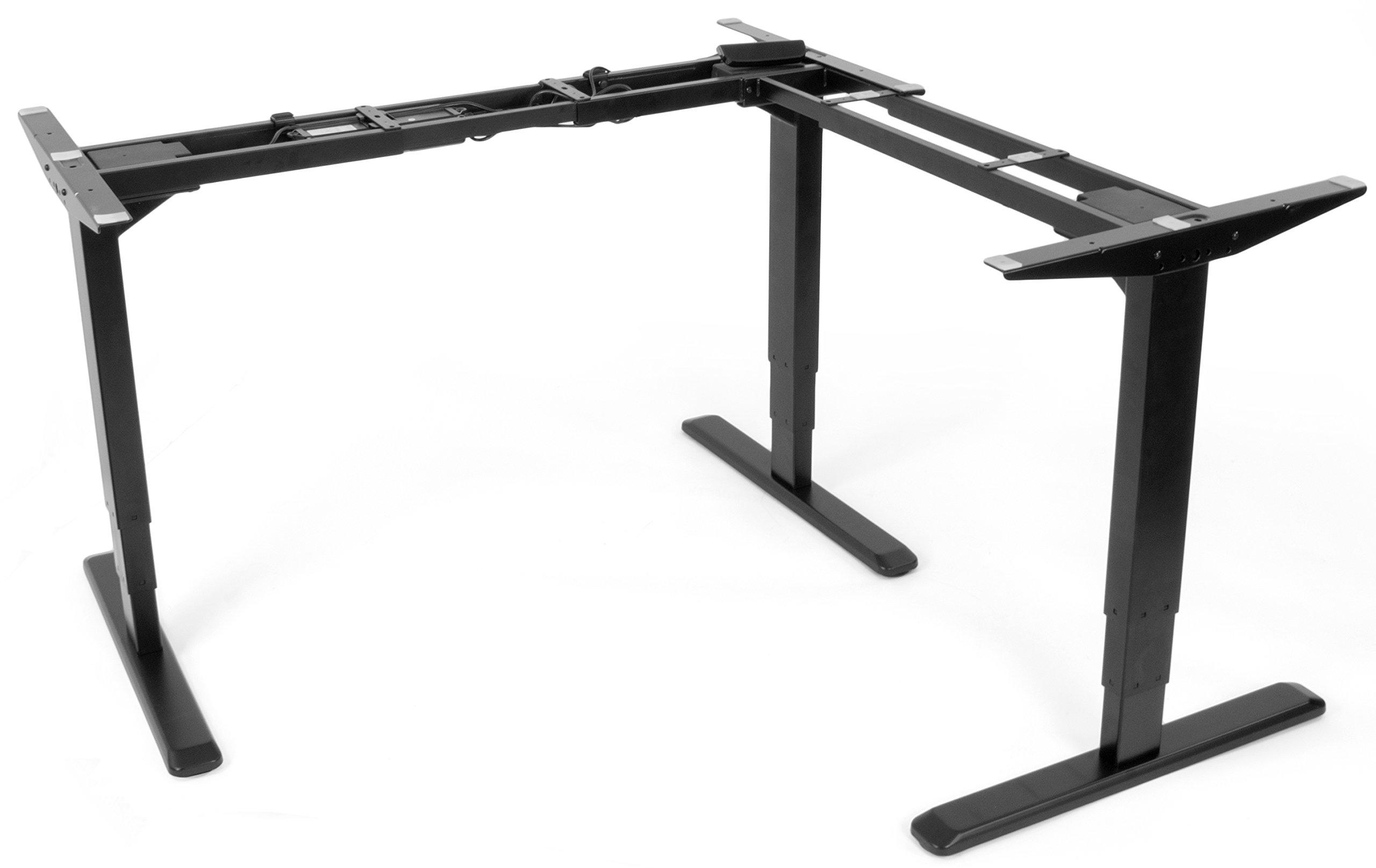 VIVO Electric Motor Sit Standing Height Adjustable Corner Three Leg Desk (Frame only) Stand Ergonomic L Frame (DESK-V133E)