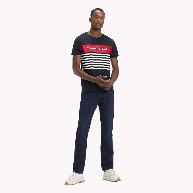 bb38402b Tommy Hilfiger Men's WCC Colour Block Stripe Tee T-Shirt, Blue (Sky Captain