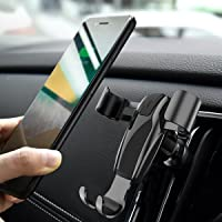 Cell Phone Holder for Car, Ainope Gravity Car Phone Mount Auto-Clamping Air Vent Car Phone Holder Universal Car Phone Mount Compatible iPhone Xs MAX/X/8/7, Galaxy Note 9/S9 Plus/S8/S7- Black (Divi)