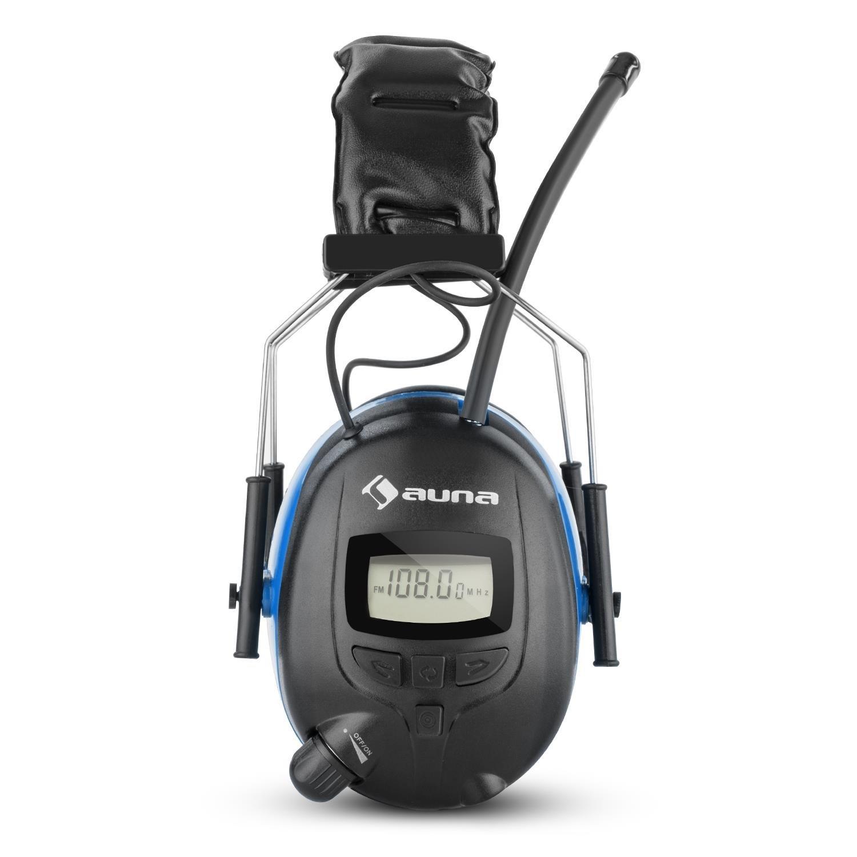 auna Jackhammer 2.0 orejeras de protección auditiva (SNR 28 dB, sintonizador FM programable, entrada AUX, almohadilla suave, arnés ajustable, ...