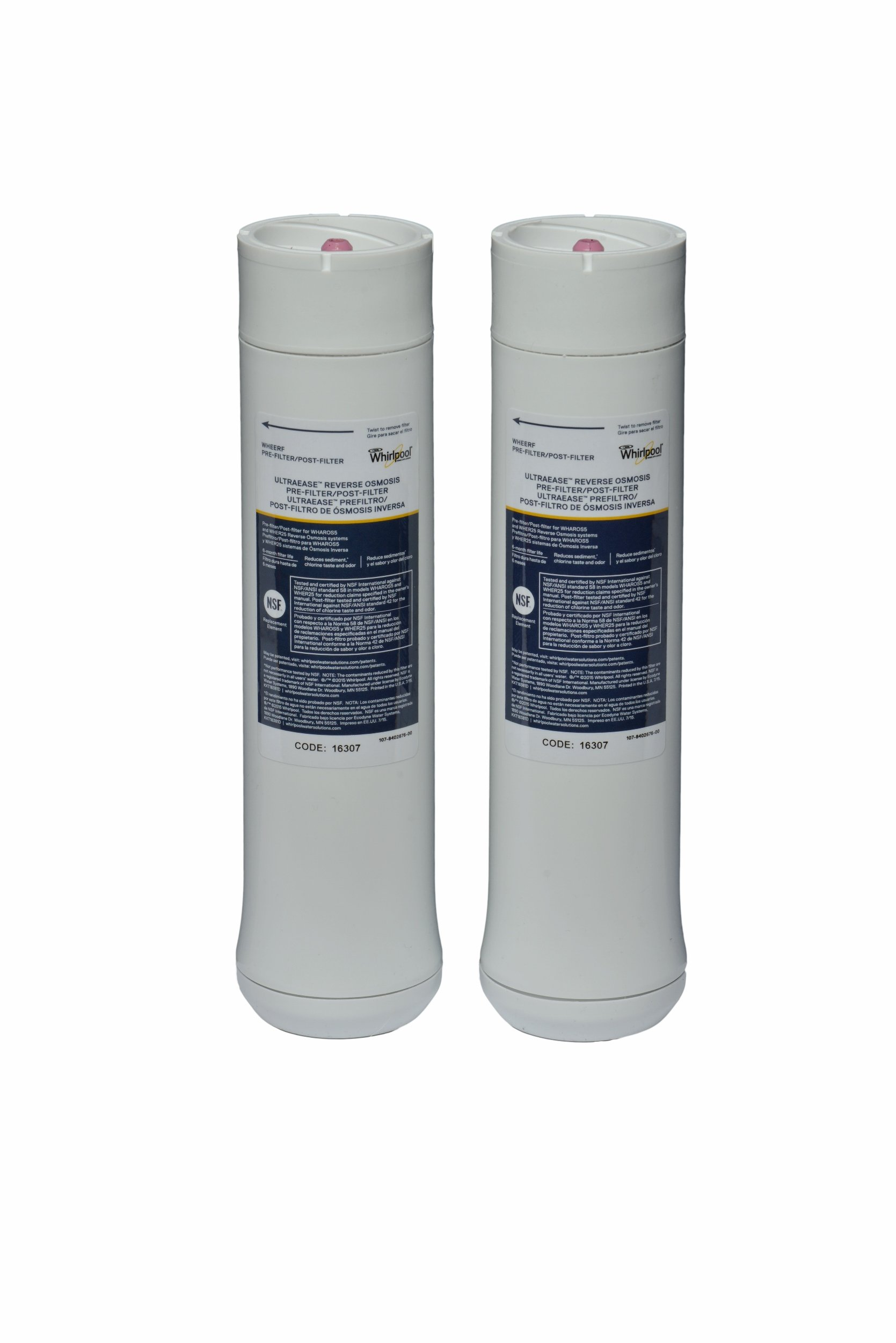 Whirlpool WHEERF Reverse Osmosis Replacement Pre/Post Water Filters (Fits Systems WHAROS5, WHAPSRO & WHER25) by Whirlpool