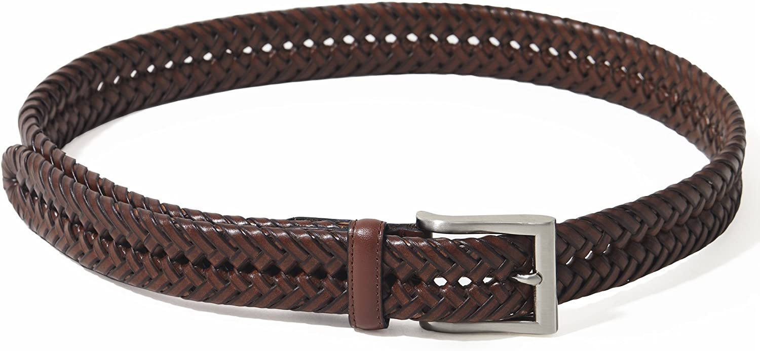 Big /& Tall Sizes Available Mens Braided Leather Belt
