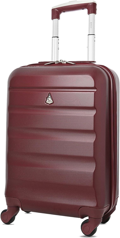 Aerolite ABS Maleta Equipaje de Mano Cabina rígida Ligera con 4 Ruedas, 55cm, Vino Rojo