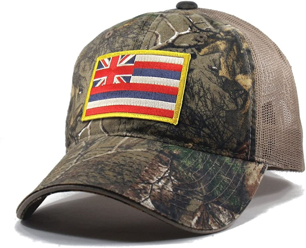 Homeland Tees Mens Hawaii Flag Patch Camo Trucker Hat