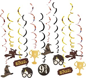 Magical Wizard Party Swirl Decorations Magical Wizard School Whirl Streamers Hanging Swirl Ceiling Decorations Harry Themed Birthday Party Ceiling Streamers Party Supplies 30Count for Kids