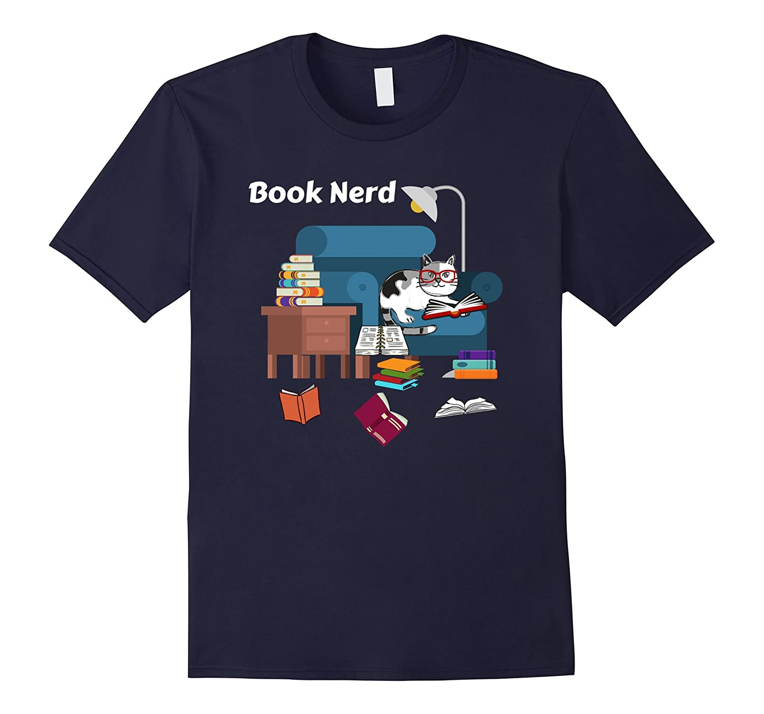 Adorable Book Nerd Cat Shirt With Eye Glasses Books-CL