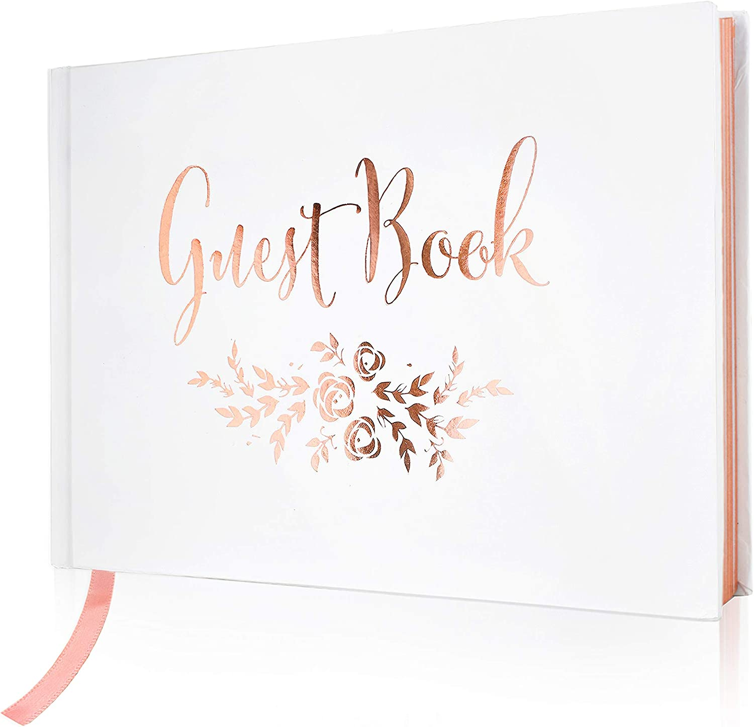 J&A Homes Wedding Guest Book – Polaroid Album Photo Guestbook Registry  Sign-in with Gold Foil & Gilded Edges – White Hardbound Book with Bookmark  – 9""