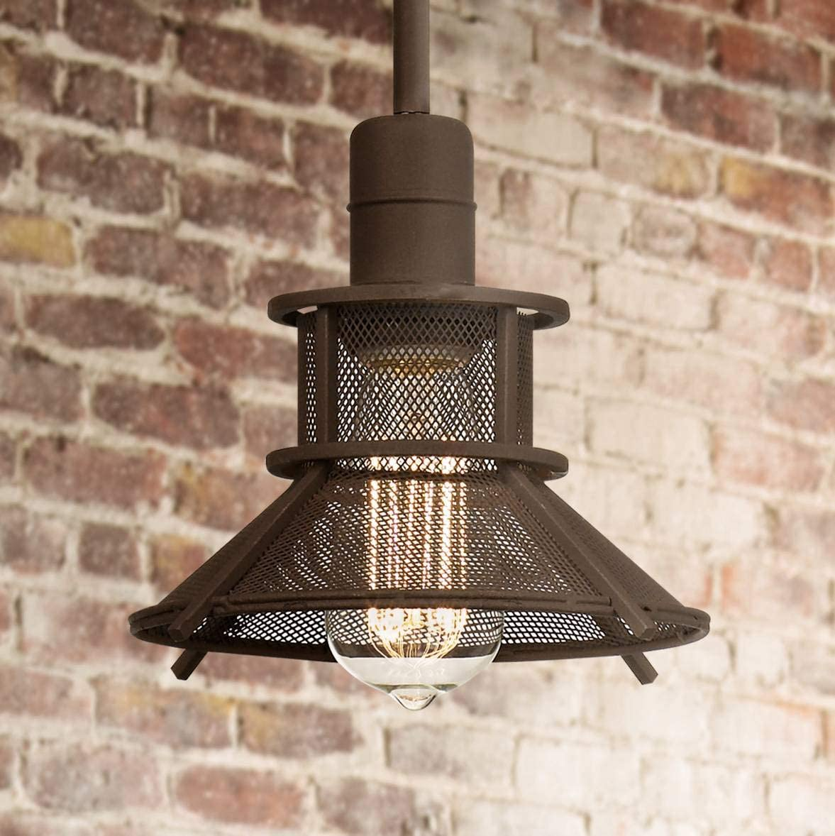 Glasgow Olde Bronze Mini Pendant Light 8 1 2 Wide Modern Industrial LED Barn Metal Mesh Shade Fixture for Kitchen Island Dining Room – Franklin Iron Works