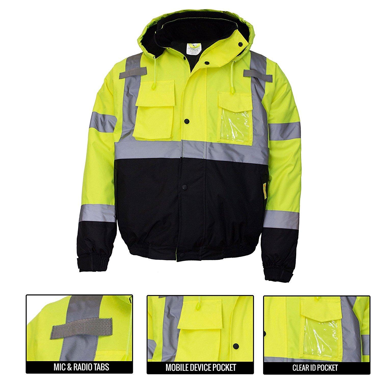New York Hi-Viz Workwear WJ9012-L Men's ANSI Class 3 High Visibility Bomber Safety Jacket, Waterproof (Large, Lime) by New York Hi-Viz Workwear (Image #6)