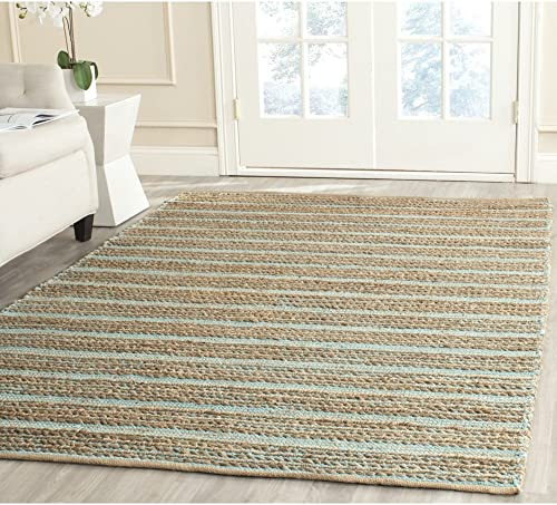 Safavieh Cape Cod Collection CAP851D Hand Woven Aqua Jute and Cotton Area Rug 8 x 10