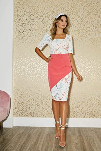 Paper Dolls Poplar White Spot-Print Colour Block Belted Dress: Odzież