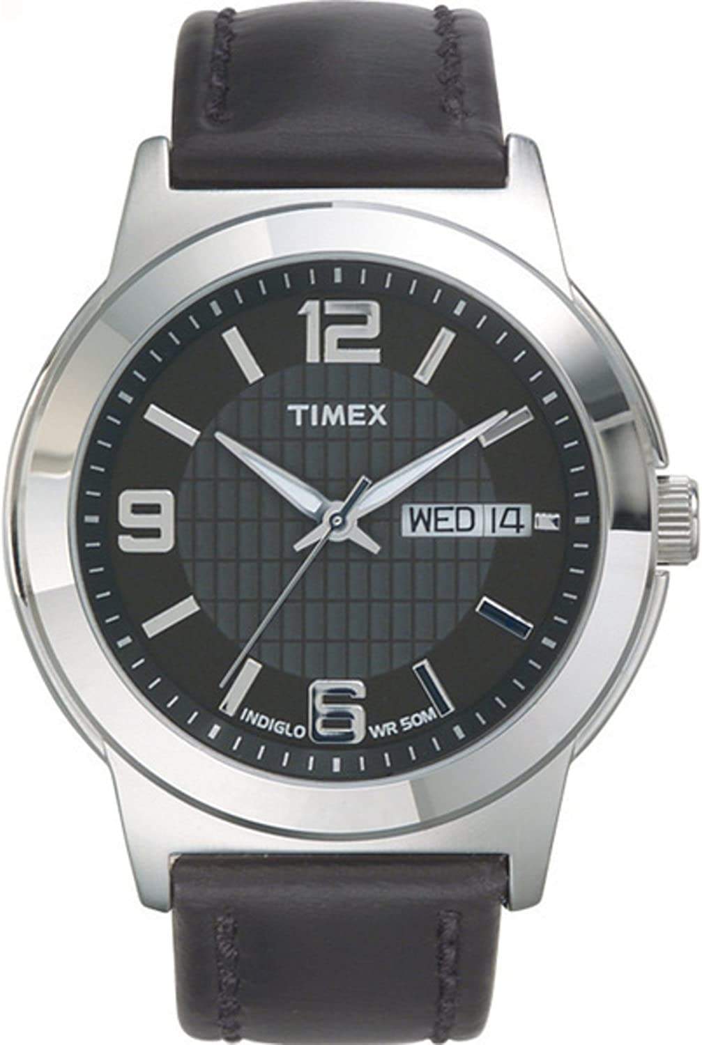 Timex Men s T2E561 Bank Street Black Leather Strap Watch