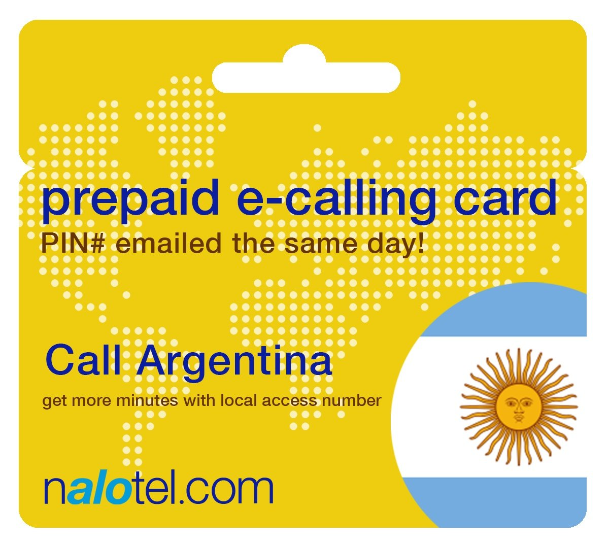 Prepaid Phone Card - Cheap International E-Calling Card $20 for Argentina with same day emailed PIN, no postage necessary