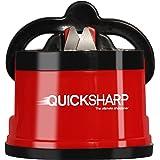 QUICKSHARP® Afilador de Cuchillos - El Mejor Afilador para su Seguridad - con Ventosa de Succión para resultados Precisos en un Simple paso (Rojo)