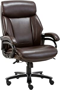 High Back Big & Tall 400lb Office Chair - Heavy Duty Metal Base, Adjustable Tilt Angle, Thick Padding and Ergonomic Design Bonded Leather Executive Desk Computer Task Swivel Chair
