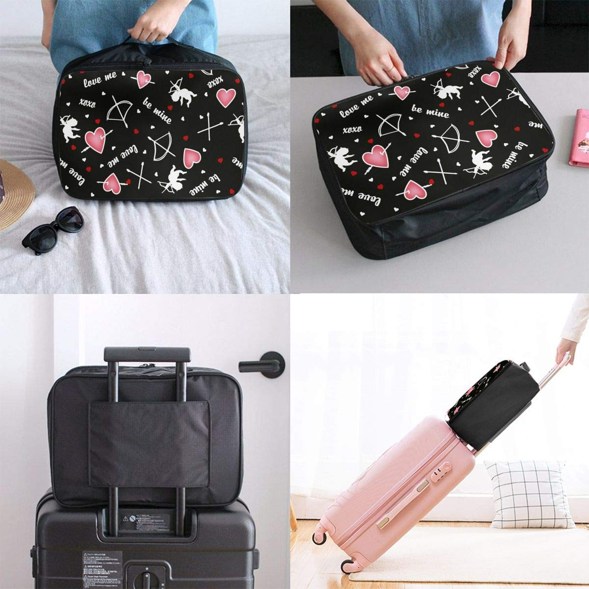 JTRVW Luggage Bags for Travel Foldable Travel Bag Travel Duffle Bag Lightweight Waterproof Travel Luggage Bag Cupid Angel Pink Love Heart Arrow Black