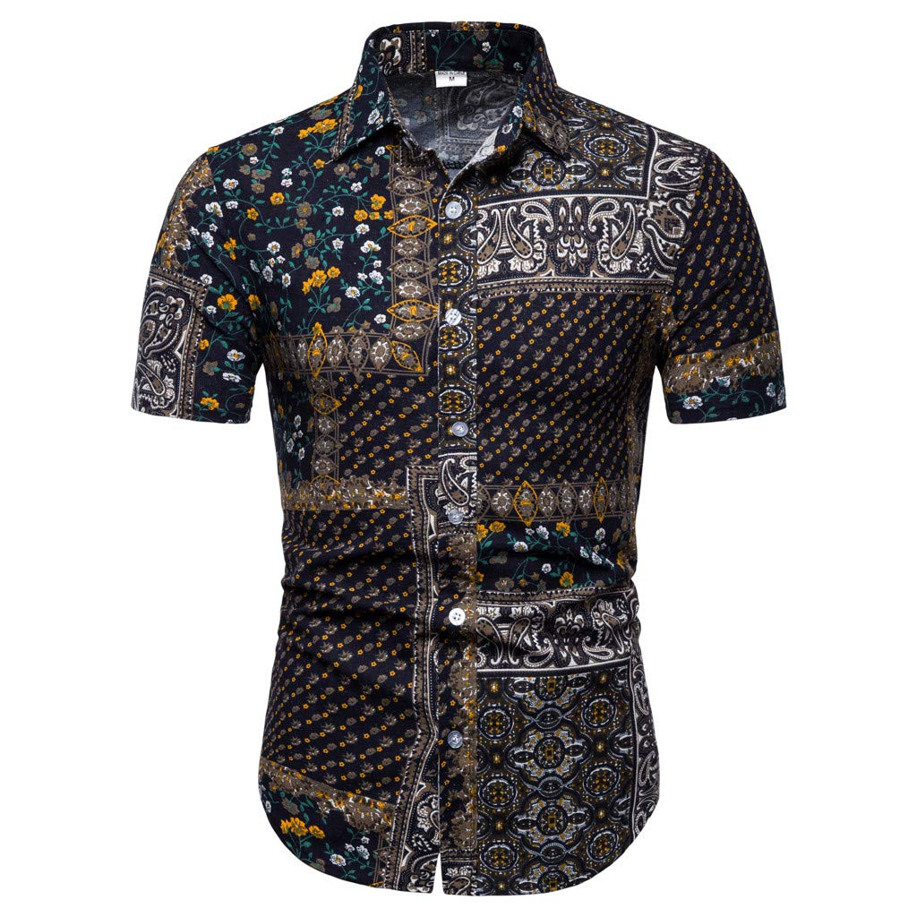 XiongBuy Men's Leisure Buttoned Short-Sleeved Shirt Fashion Printing Lapel Printing Short Sleeve Shirt Black