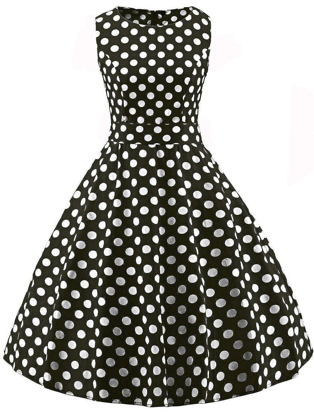 TALLA 4XL. FAIRY COUPLE 50s Vestido de Partido Floral Retro del Oscilación del Cóctel del Vintage con el Arco DRT017 Puntos Blancos Negros 4XL