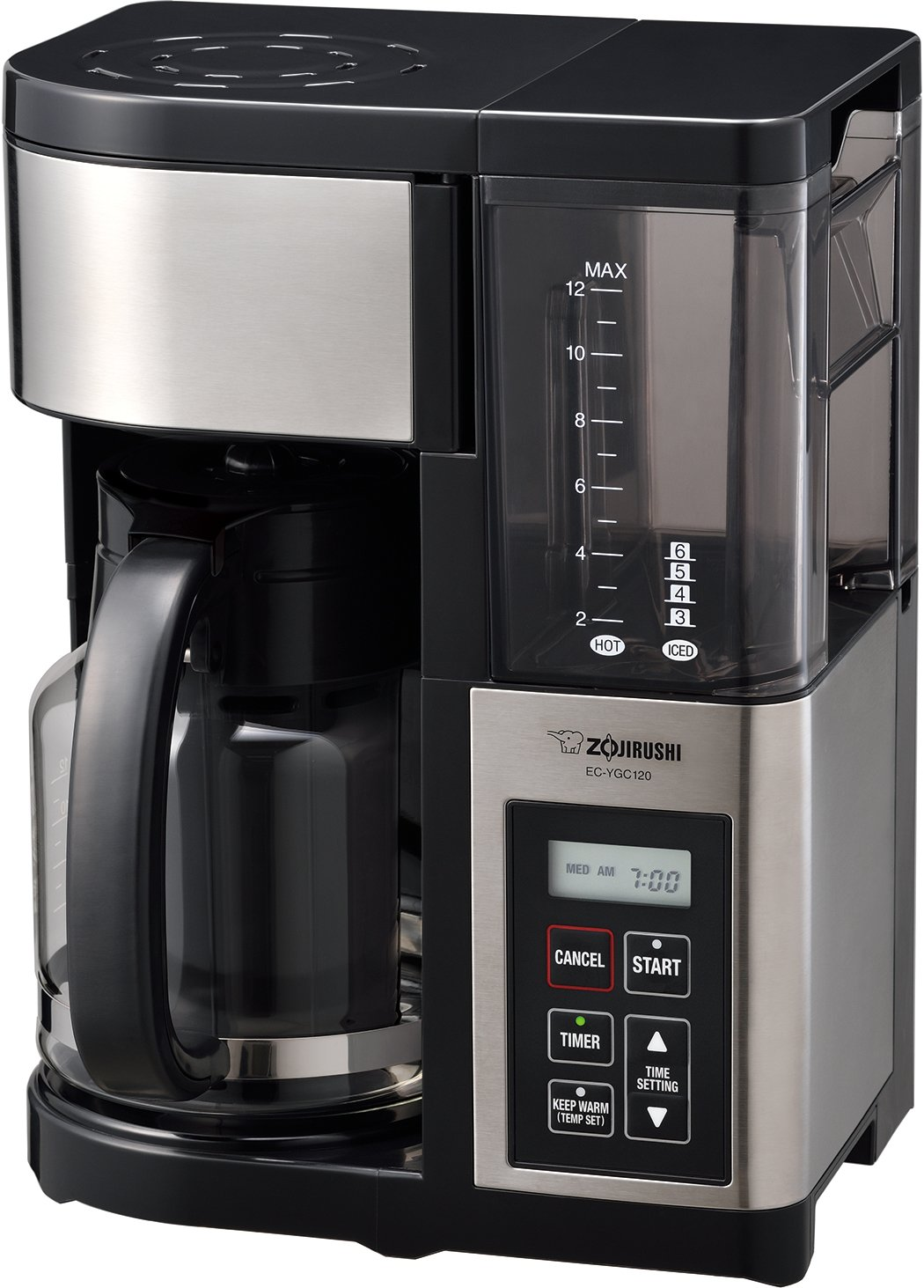Zojirushi EC-YGC120 Fresh Brew Plus 12-Cup Coffee Maker, Stainless Black