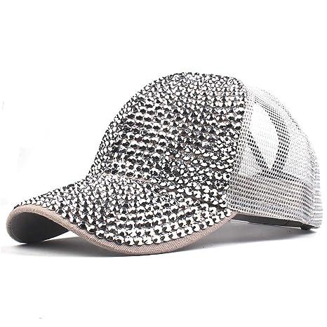 yiqianzhaobiao_Hat YQZB Women Baseball Cap Adjustable Mesh Rhinestone Hats Ponycap Messy High Bun Ponytail Visor Headwear at Amazon Womens Clothing store: