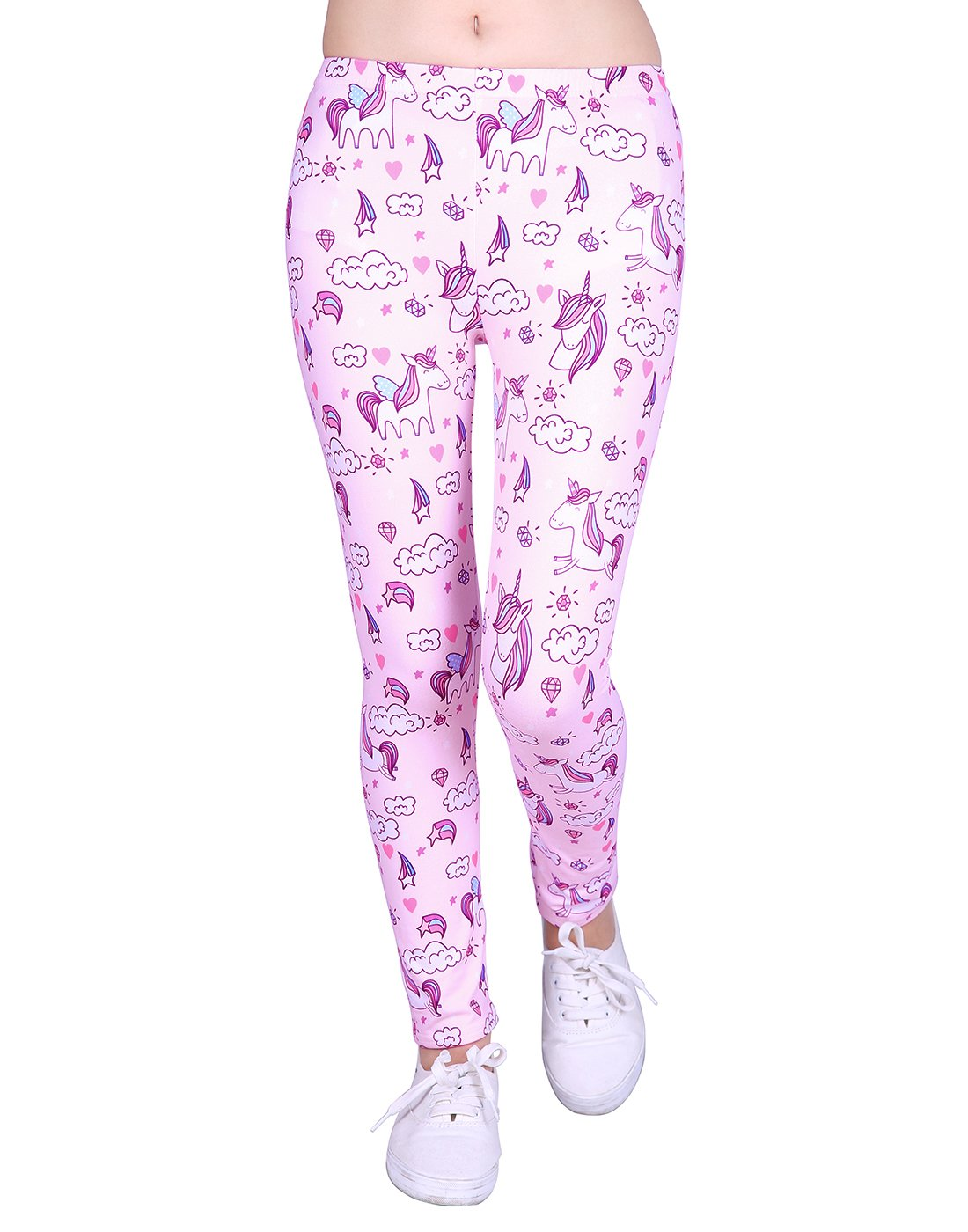 HDE Girl's Ultra Soft Leggings with Print Designs Full Ankle Length Comfy Pants