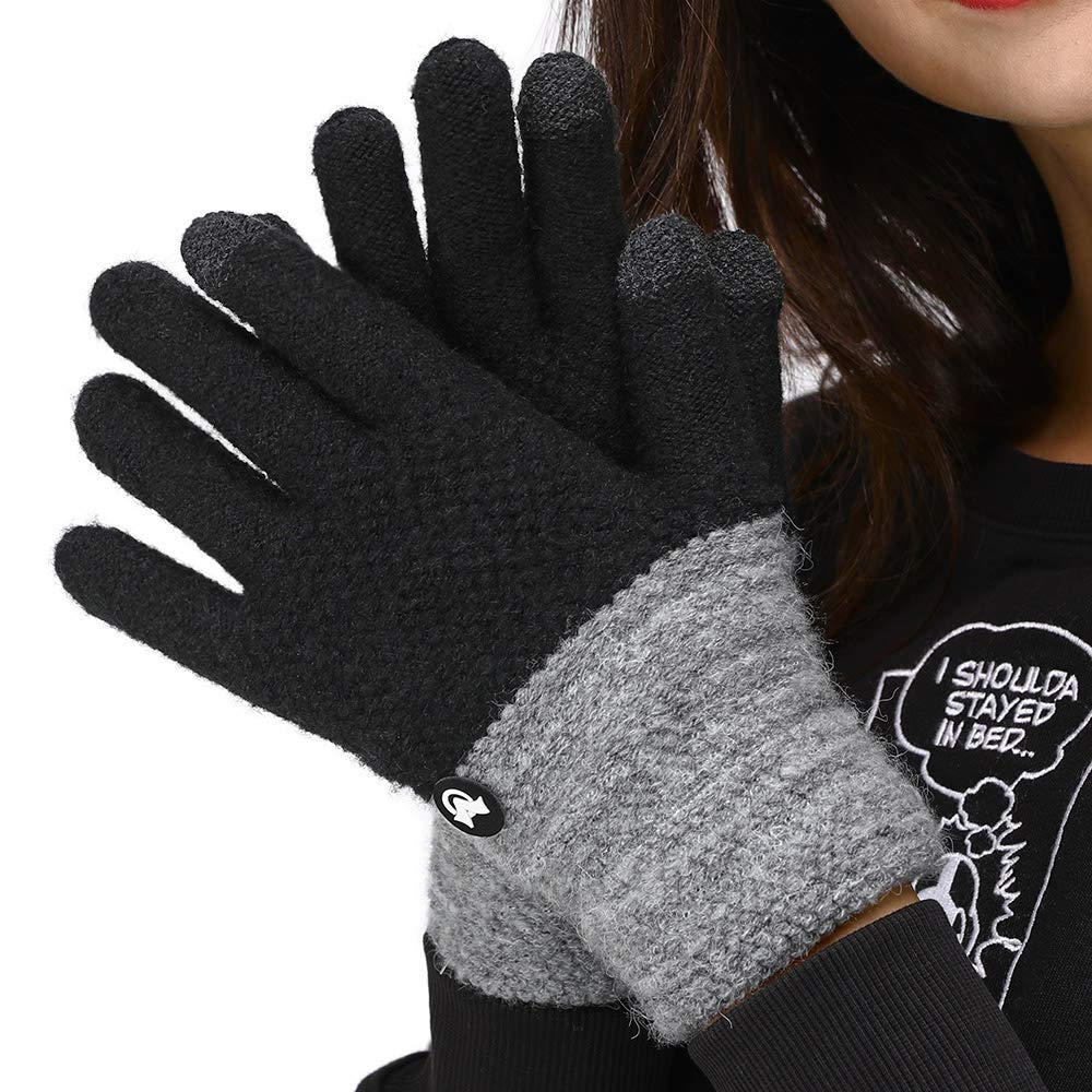 LETHMIK Duotone TouchScreen Winter Gloves, Mens& Womens Unique Knit Warm Gloves with Warm Wool Lining KG18U01-Black