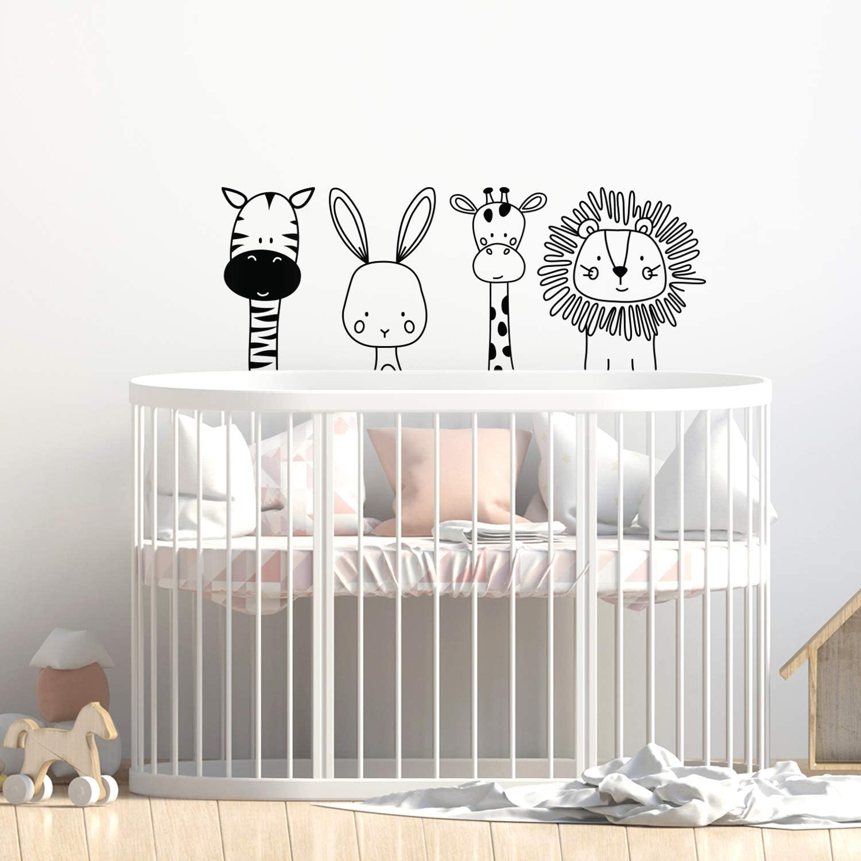 "Set of 4 Vinyl Wall Art Decal - Zebra Rabbit Giraffe Lion - 17"" x 44"" - Cute Modern Design for Animal Lovers Home Apartment Bedroom Window Playroom Classroom Nursery Indoor Decoration"