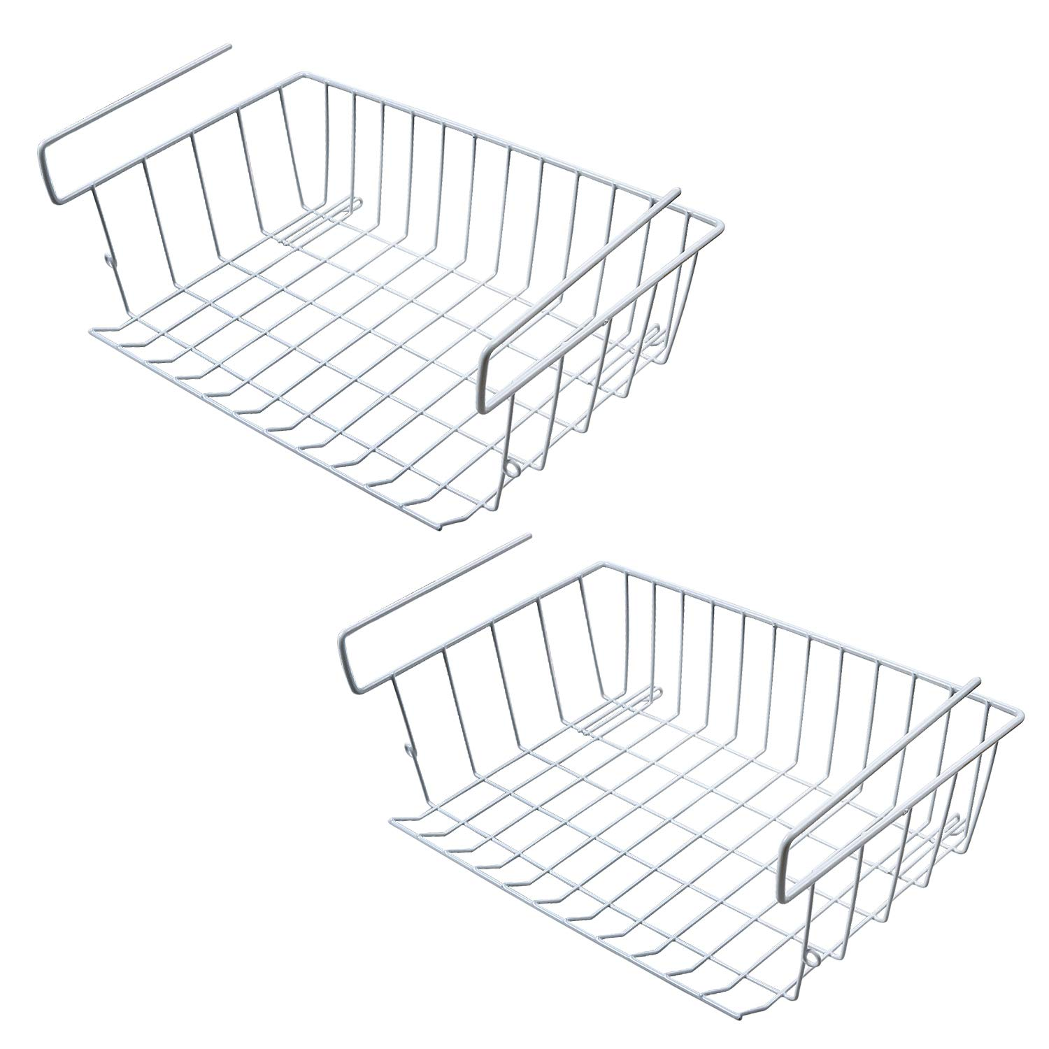 M SANMERSEN Under Shelf Hanging Wire Storage Basket for Kitchen, Pantry, Cabinet - Pack of 2