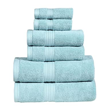 650 GSM Luxury Bathroom 6-Piece Towel Set, Made of 100% Premium Long-Staple Combed Cotton, 2 Hotel & Spa Quality Washcloths, 2 Hand Towels, and 2 Bath Towels, Soft & Absorbent, MONARCH, AQUA MARINE