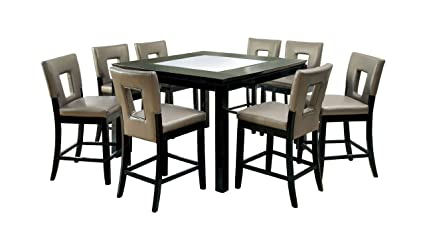 Furniture Of America Helena 9 Piece Counter Height Dining Set, High Gloss  Lacquer,