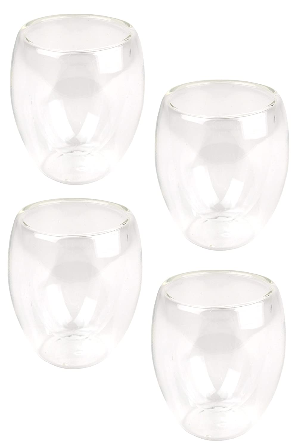 Double Wall Clear Glass Espresso Coffee Cups, Capacity 50ml, Set of 4 Lime
