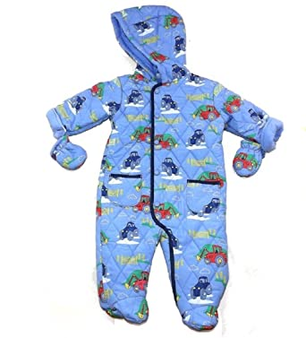020971acde45 Lily   Jack Baby Boy s Quilted Footed Snowsuit With Tractor and Backhoe  Print (0-