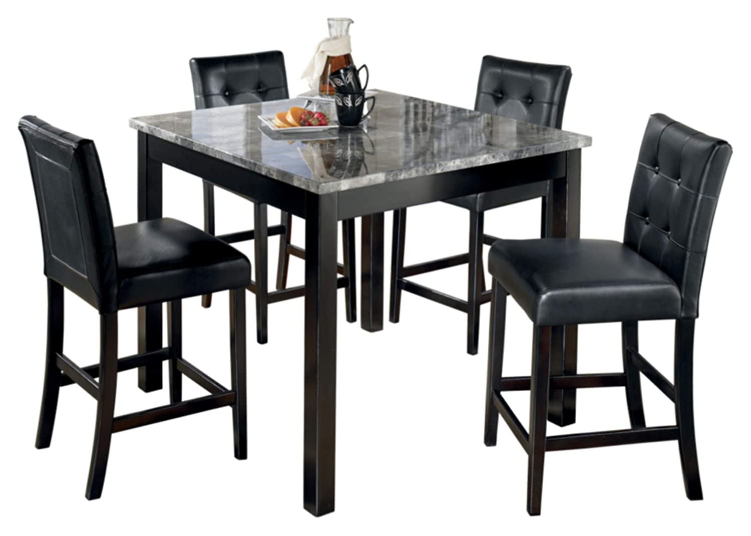 Amazon com ashley furniture signature design maysville counter height dining room set 1 table and 4 barstools contemporary set of 5 black