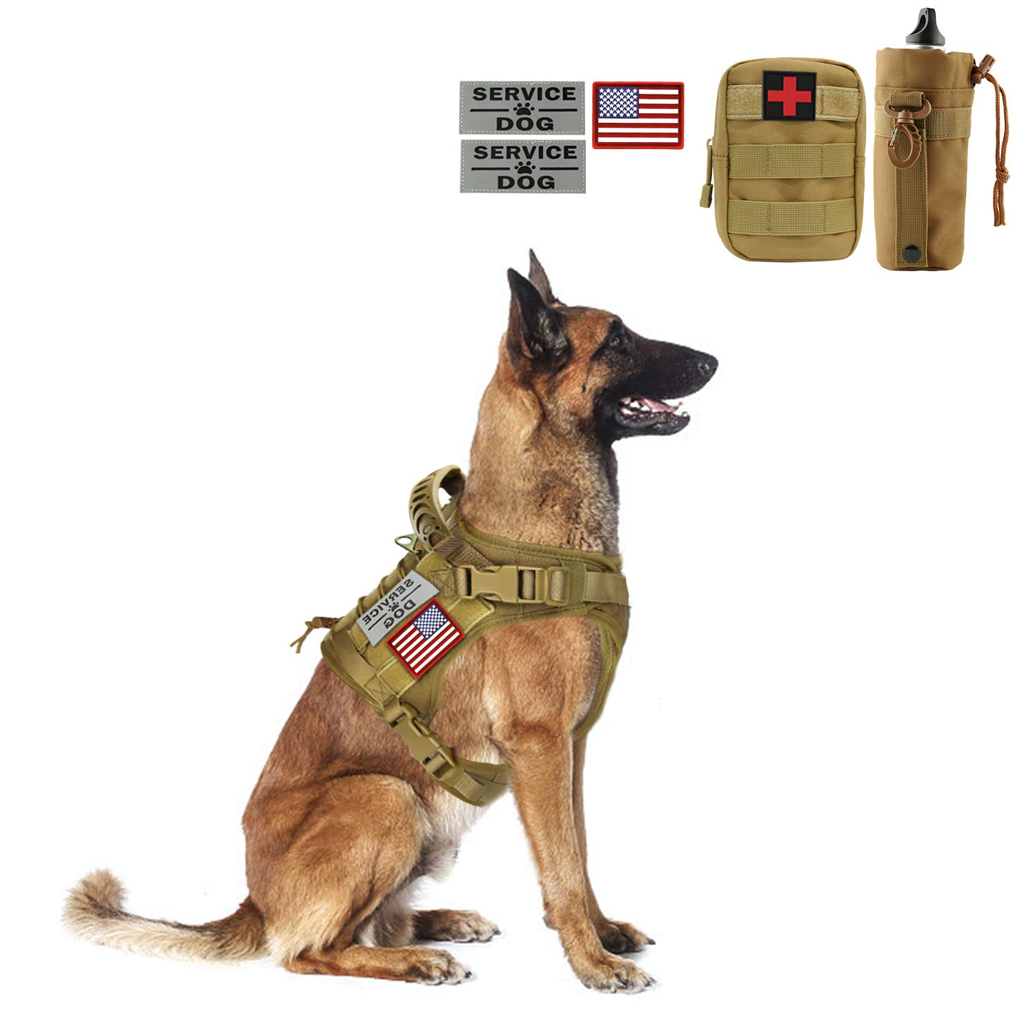 Hanshengday Tactical Dog Vest-Training Outdoor Breathable Harness-Military Water-Resistant Dog Backpack-Pet Tactical -Vest Detachable Pouches-D Ring for Dog Leash (XL, 02Khaki)