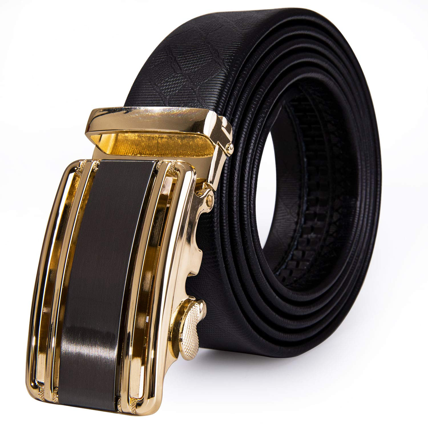 Dubulle Mens Black Leather belt Fashion Buckle Ratchet Belt with Automatic Buckle Gift box Belt