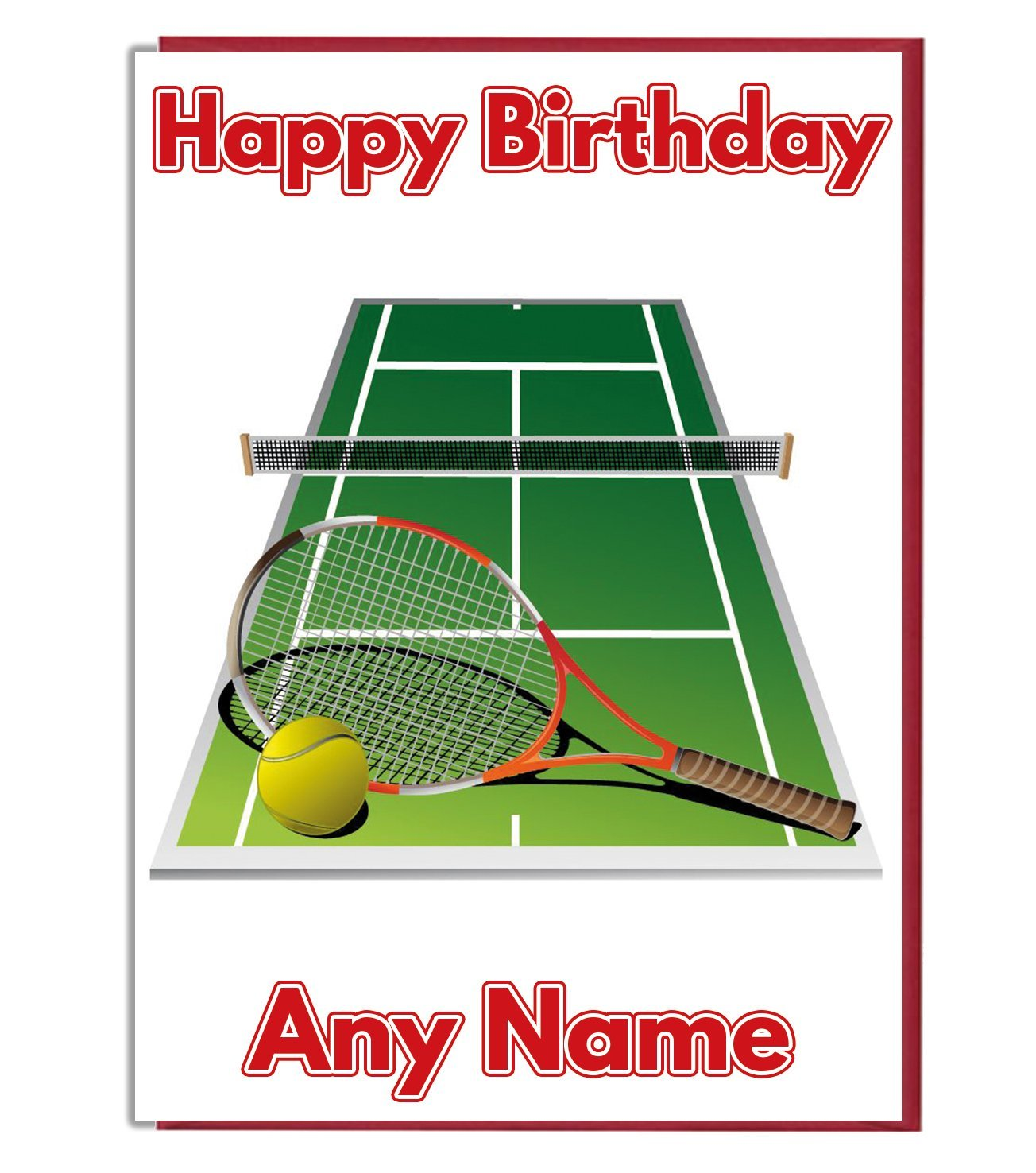 Ak Giftshop Tennis Themed Court Racket And Ball Personalised
