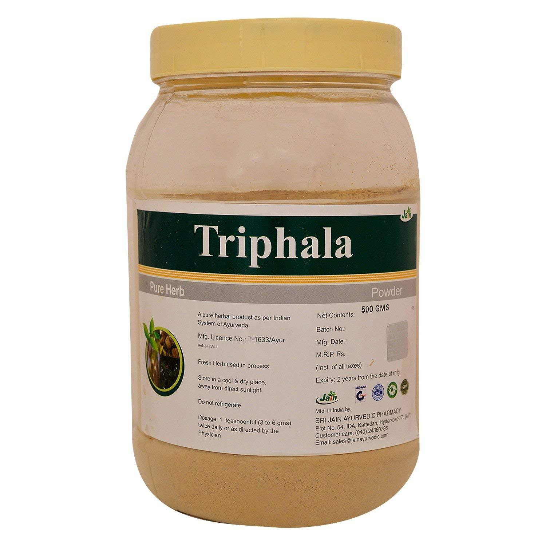 Jain's Triphala Powder 500 Gram - Indian Ayurveda's Pure Natural Herbal Supplement Powder