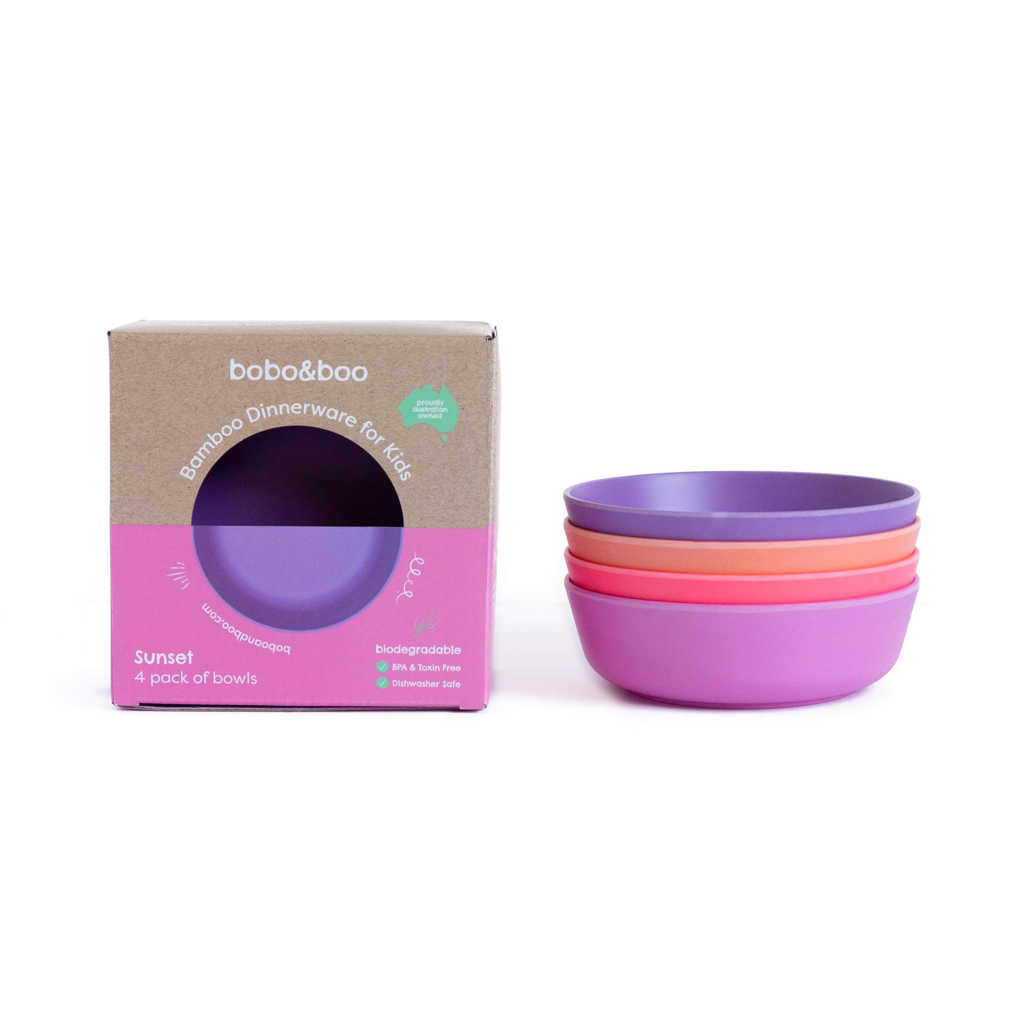 Bobo&Boo Bamboo Kids Bowls, Set of 4 Eco Friendly Toddler Bowls :: Non Toxic & Kid Safe Dishes for Cereal & Soup :: Mix and Match :: Great Gift for Baby Showers & Birthdays, Sunset by Bobo&boo