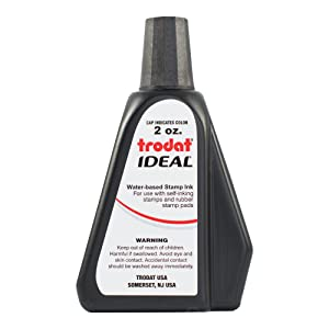 Trodat AS-TRO52734 Ideal Premium Replacement Ink for Use with Most Self Inking and Rubber Stamp Pads, 2 oz, Black