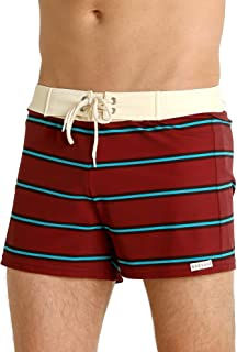 product image for Sauvage Retro Vibe Striped Swim Trunk Crimson