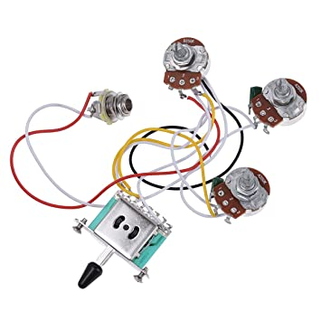 electric guitar wiring harness prewired kit 5 way toggle switch 250k rh amazon co uk Stratocaster Custom Wiring Harness Guitar Varitone Wiring Harness