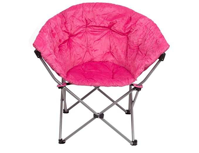 GOJOOASIS Folding Moon Saucer Chair Round Comfortable Padded Club Seat for Girl