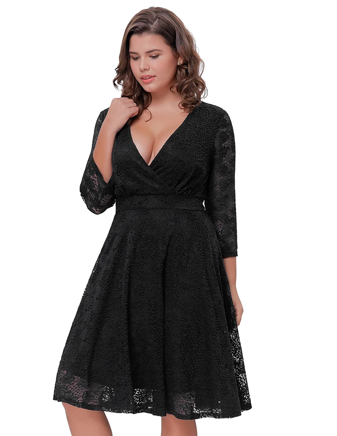49a2a05ce11 Hanna Nikole Women Lace V-Neck 3 4 Sleeve Bridesmaid Wedding Flared Skater  Dress at Amazon Women s Clothing store