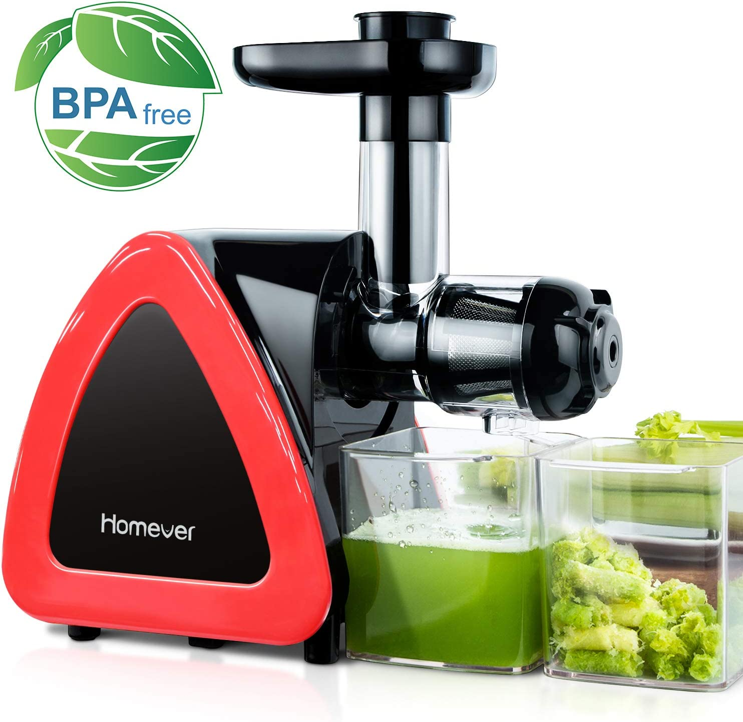 Juicer Machines, HOMEVER Slow Masticating Juicer for Fruits and Vegetables, Quiet Motor, Reverse Function, Easy to Clean Hight Nutrient Cold Press Juicer Machine with Juice Cup Brush, BPA-Free