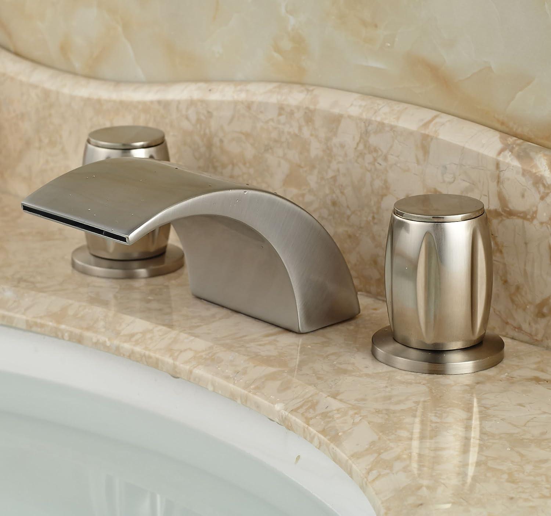 Rozin Widespread 3 Holes Bathroom Sink Faucet Deck Mount Mixer Tap ...